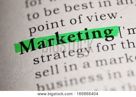 Fake Dictionary Dictionary definition of the word Marketing.