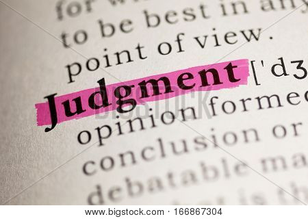 Fake Dictionary Dictionary definition of the word Judgment.