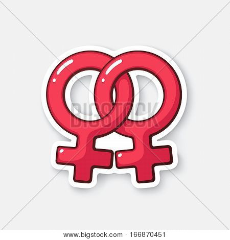 Vector illustration. Female homosexual Venus symbol. Gender pictogram. Cartoon sticker  with contour. Decoration for greeting cards, posters, patches, prints for clothes, emblems