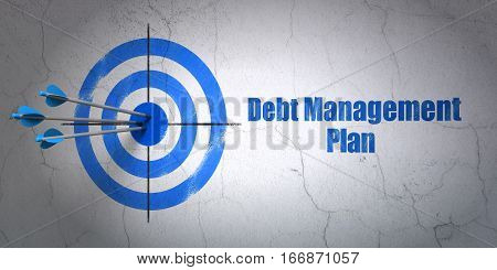 Success finance concept: arrows hitting the center of target, Blue Debt Management Plan on wall background, 3D rendering