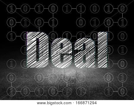Business concept: Glowing text Deal in grunge dark room with Dirty Floor, black background with Scheme Of Binary Code