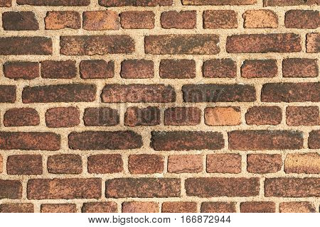 Pattern image of brick wall on side of house.