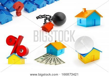Set of house building. Sign percent on the roof arrested the house a question mark on a white background 3D illustration