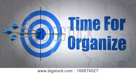 Success time concept: arrows hitting the center of target, Blue Time For Organize on wall background, 3D rendering