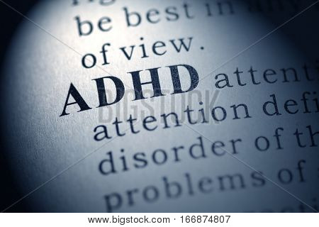 Fake Dictionary Dictionary definition of the word ADHD. Attention deficit hyperactivity disorder