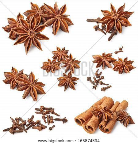 Star anise cinnamon and cloves isolated on white background. Set