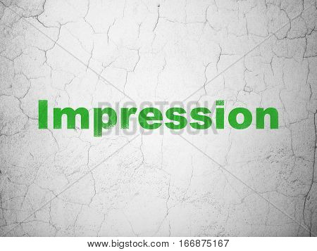 Marketing concept: Green Impression on textured concrete wall background