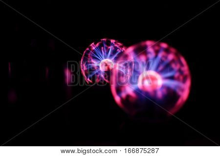 Electricity fire-ball. Abstract photo of electric waves. Static electricity