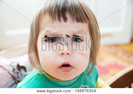 Little Girl With Painted Face While Drawing, Children Arts