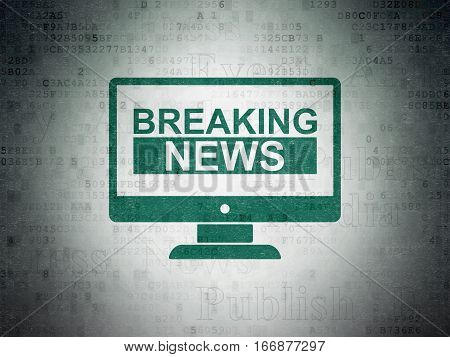 News concept: Painted green Breaking News On Screen icon on Digital Data Paper background with  Tag Cloud