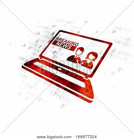 News concept: Pixelated red Breaking News On Laptop icon on Digital background