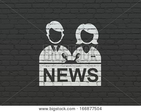 News concept: Painted white Anchorman icon on Black Brick wall background