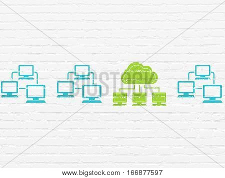 Cloud technology concept: row of Painted blue lan computer network icons around green cloud network icon on White Brick wall background