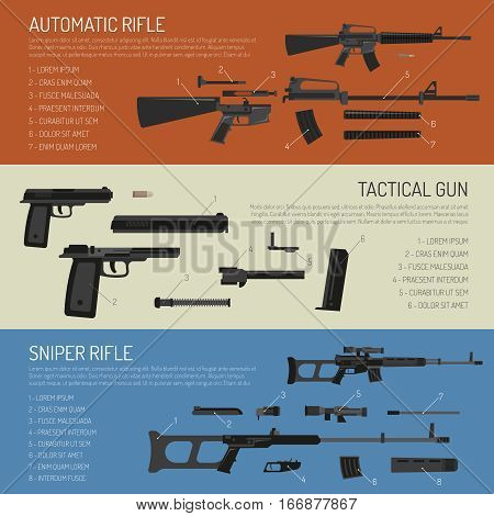 Flat horizontal weapon banners presenting description of rifles gun and their parts isolated vector illustration