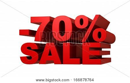 Red letters -70 SALE discount concept 3d illustration.