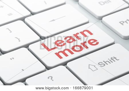 Learning concept: computer keyboard with word Learn More, selected focus on enter button background, 3D rendering