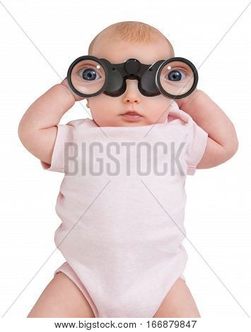 An Innocent Child Looking Through A Binocular On White Background