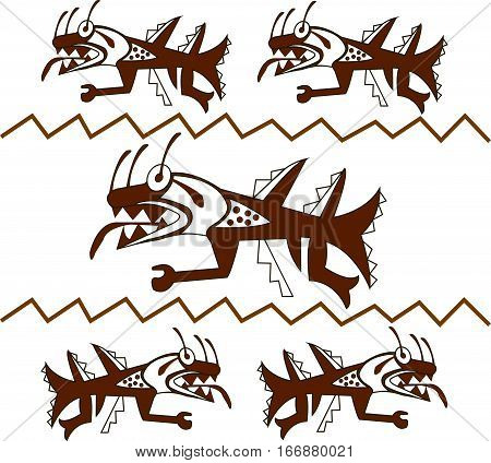 sea monster like a shark. Ethnic patterns of Native Americans: the Aztec, Inca, Maya (Mexico, Ecuador, Peru). Drawing in the Mexican style. Vector illustration.