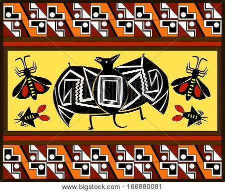 Ethnic patterns of Native Americans: the Aztec, Inca, Maya (Mexico, Ecuador, Peru). Drawing in the Mexican style. Bat, cicada, butterfly. Vector illustration.