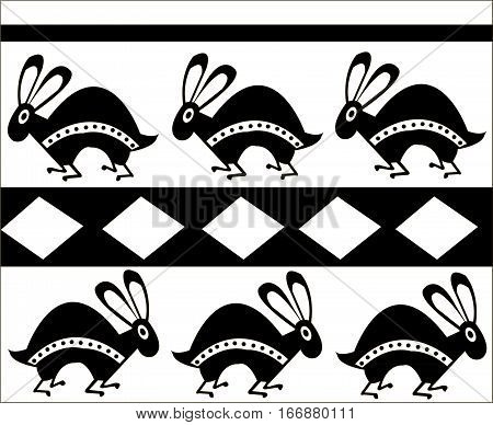 Ethnic patterns of Native Americans: the Aztec, Inca, Maya, Alaska (Mexico, Ecuador, Peru). Drawing in the Mexican style. rabbit. Vector illustration.