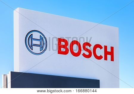 SAMARA RUSSIA - MAY 29 2016: Emblem Bosch against the blue sky. Robert Bosch LLC is a multinational engineering and electronics company