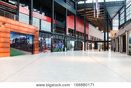 SAMARA RUSSIA - JANUARY 2 2017: Interior of shopping mall Goodok. The largest shopping center in Samara opened in December 2016