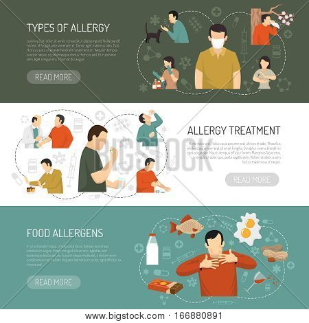 Three horizontal colored allergy banner set with types of allergy allergy treatment food allergens descriptions vector illustration