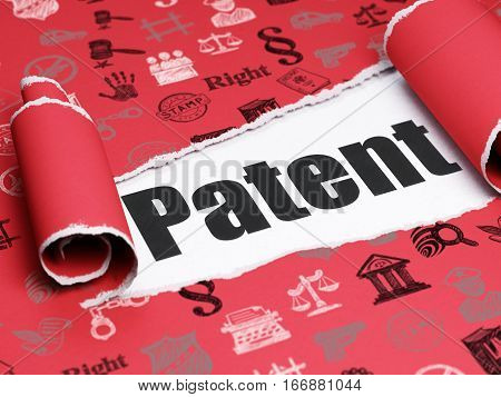 Law concept: black text Patent under the curled piece of Red torn paper with  Hand Drawn Law Icons, 3D rendering