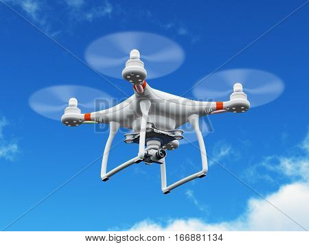 Creative abstract 3D render illustration of professional remote controlled wireless RC quadcopter drone with 4K video and photo camera for aerial photography flying in the air blue sky outdoors with selective focus effect