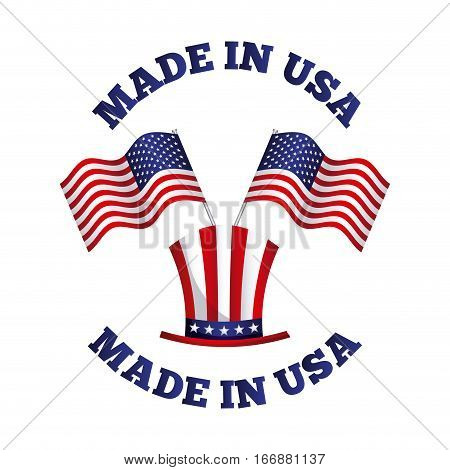 made in usa card with usa flag and hat over white background. colorful design. vector illustration