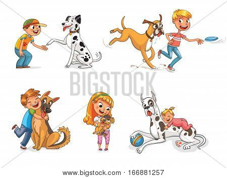 Dalmatian giving paw to a boy. Boxer dog playing with a boy in a frisbee. Child hugging his pet. Funny cartoon character. Vector illustration. Isolated on white background