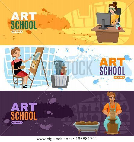 Three online art school horizontal banners set with cartoon designer painter and sculptor characters vector illustration