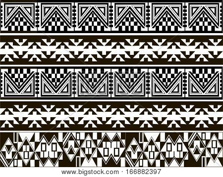 Ethnic patterns of Native Americans: the Aztec, Inca, Maya, Alaska Indians (Mexico, Ecuador, Peru). Drawing in the Mexican style. Vector illustration.