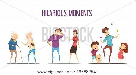 Hilarious funny life moments 3 retro cartoon icons set with couples and young family isolated vector illustration