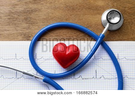 Stethoscope and red heart on paper electrocardiogram