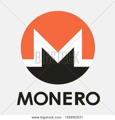 Monero XMR open-source cripto currency on blockchain technology vector, icon, sign for print and web.