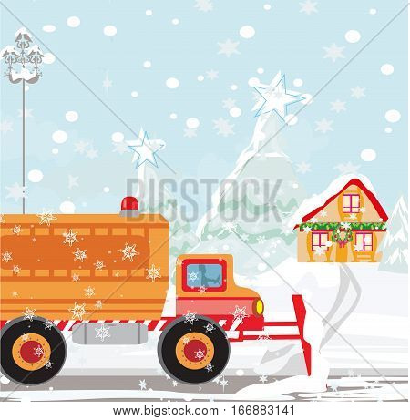 Snow plough during operation on winter landscape , vector illustration