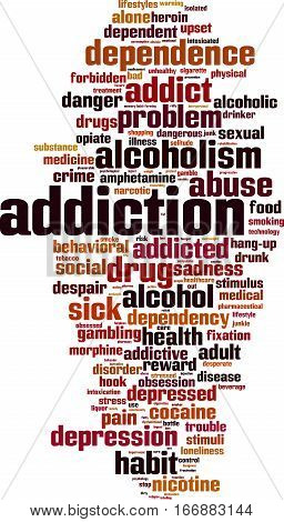 Addiction word cloud concept. Vector illustration on white