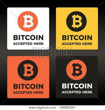 World cripto currency Bitcoin vector sticker, lable, icon set. Accepted bitcoin badges.