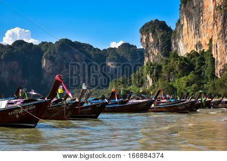 Thai Boats in Railay Bay - Thailand - January 2017