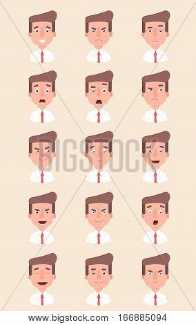 Office man emotion face vector illustration. Fear, joy, anger, pleasure  Flat Vector Cartoon