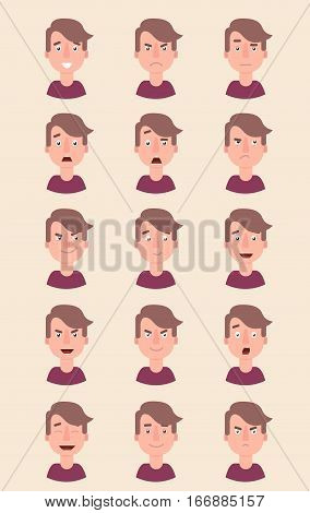 Man emotion face vector illustration. Fear, joy, anger pleasure  Flat Vector Cartoon