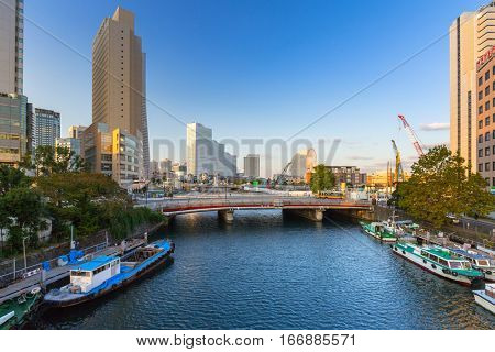 YOKOHAMA, JAPAN - NOVEMBER 7, 2016 : Architecture of Minato Mirai 21 district in Yokohama at sunset, Japan. Yokohama is the second largest city in Japan by population and most populous municipality.