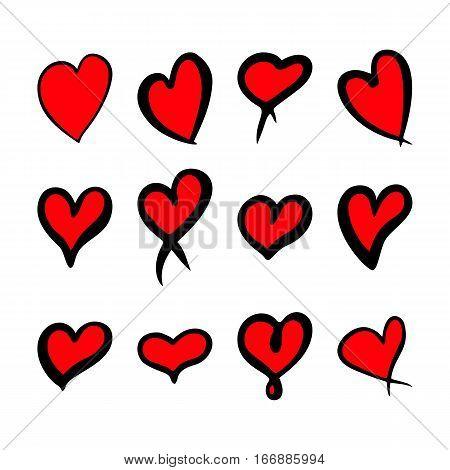 Red hearts set, Valentine day love adult xxl vintage wedding  invitation design