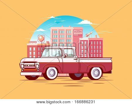 Colorful pickup car template of classic design with cityscape on light background isolated vector illustration