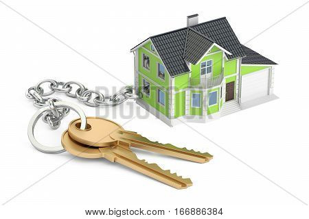 House key with keychain 3D rendering isolated on white background