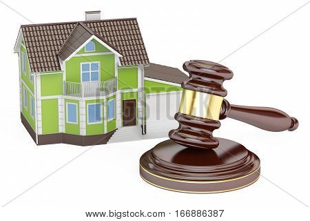 House with gavel auction concept 3D rendering