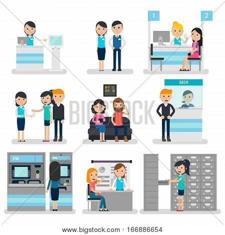 Bank people flat collection with customers and staff in different situations isolated vector illustration