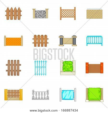 Fencing modules icons set. Cartoon illustration of 16 Fencing modules vector icons for web