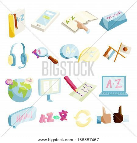 Translator symbols icons set. Cartoon illustration of 16 translator symbols vector icons for web
